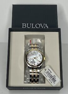 Bulova Women's Diamond Heart Watch Stainless Steel Two Tone Quartz MOP Sparkly