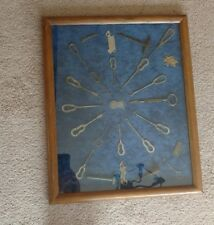 ANTIQUE SHOE BUTTON HOOK DISPLAY / Framed Collection ~ 15+