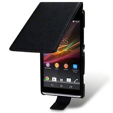 For Sony Xperia SP Premium PU Leather Slim Fit Flip Case Cover - Black