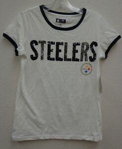 Pittsburgh Steelers Womens Medium G-III Backfield Ringer Tee Shirt 084