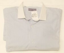 Ralph Lauren Purple Label Blue Stripe French Cuff Dress Shirt 17.5 Made in Italy