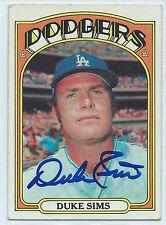 Duke Sims signed 1972 Topps baseball Los Angeles Dodgers #63 autograph