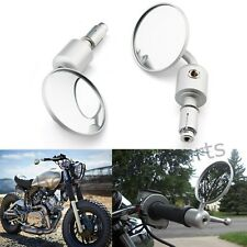 "Silver Motorcycle Rearview Mirrors 7/8"" 1"" Bar End For Cafe Racer Bobber Cruiser"