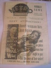 1943 Promo Film Brochure Metro Cinema Weekly News 9 / 9/ 1943 Bombay Vol 5 No 28