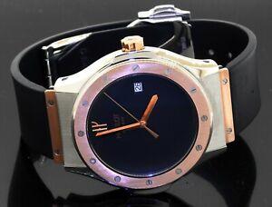 Hublot Classic 1905.7 SS/18K Rose gold 42mm quartz Black dial men's watch w/date