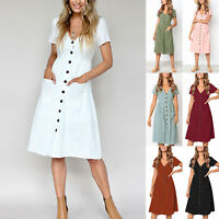Women's Short Sleeve V Neck Casual Plain Midi Dress Summer Pocket Swing Sundress