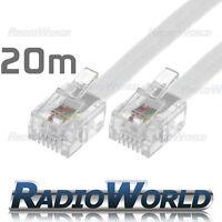 Internet Lead Long DSL White 20M Metre RJ11 TO RJ-11 Cable Broadband Modem
