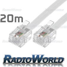 20M Metre RJ11 TO RJ-11 Cable Broadband Modem / Internet Lead Long DSL White