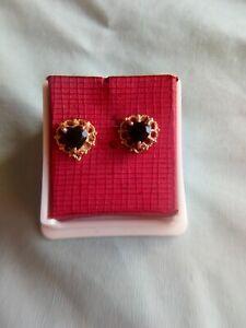 Vintage 9ct Hallmarked 9k Yellow Gold 8mm Black Onyx Ball Stud Earrings
