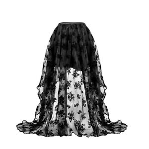 Lace Steampunk Gothic Skirt Corset Dress Front Short Back Long Tulle Skirt Party