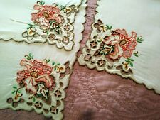 """Rare Set of 12 Amazing Madeira Colorful Floral Embroidered Linen Napkins 16 1/2"""""""