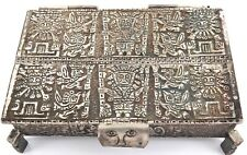 .VINTAGE HEAVY SET .925 STERLING SILVER PERUVIAN INCAN TRINKET BOX.