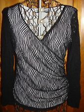 Womens M Josephine Chaus Black/White Swirl Lace LS Crossover Top