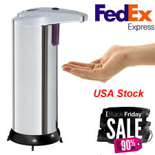 1 x Dispenser Soap Sensor Automatic Touchless IR Liquid Stainless Steel 280ML
