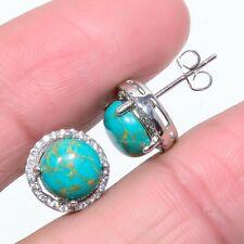 Santa Rosa Copper Turquoise, White Topaz 925 Silver Push Back Earring Stnd. 3