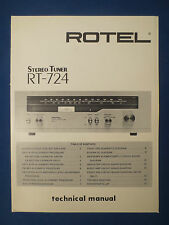 ROTEL RT-724 TUNER TECHNICAL SERVICE MANUAL FACTORY ORIGINAL THE REAL THING