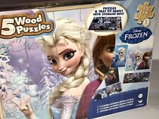 + Disney Frozen: 5 Wood Puzzles In Wooden Storage Tray Box (New & Sealed) +