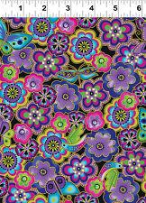 1/2 yard_Clothworks_Laurel Burch_birds_butterflies_quilt fabric_cotton_purple