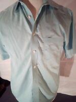 Roundtree & Yorke Gold Label Men Aqua Blue Short Sleeve Dress Shirt Size Medium