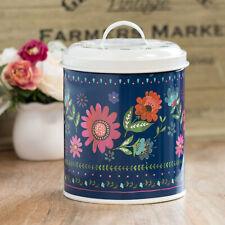 Retro Vintage Floral Biscuit Tin Barrel Storage Canister Container Cookie Jar