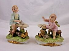 Vintage Pair  Andrea by Sadek Porcelain Colonial Figurines Boy and Girl Reading