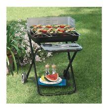Barbecue a Carbonella Pieghevole griglia 54x38 cm Struttura Acciaio con Ruote