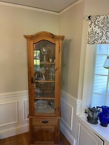 Vintage China Cabinet- Glass And Pine With Pewter Pulls