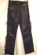 Vtg HARLEY DAVIDSON Women's 10 Black Lace Up Leather Biker Riding Pants