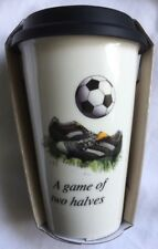 Travel Mug Double Walled With Silicon Lid. Football Design
