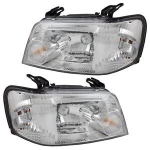 Pair Set Headlights Headlamp Lens Housing for 2005-2007 Mercury Mariner & Hybrid