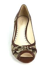 Coach Signature Fabric Open Toe Wedge Heel Shoe Size US.8