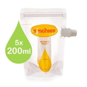200ml Sinchies Food Pouches Reusable Packaging clear 5 pack Side fill, Stand up