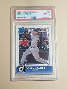 2016 Panini Donruss Corey Seager Rated Rookie Dodgers 32 PSA 10