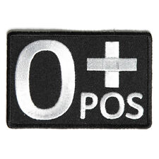 Embroidered O+ Blood ID O Positive Blood Group Sew or Iron on Patch Biker Patch