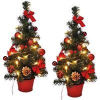 2x LED Weihnachtsbaum künstlicher Tannenbaum Christbaum Xmas beleuchtet 45cm Rot