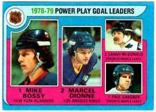1979-80 Topps POWER PLAY GOAL LEADERS Mike Bossy Marcel Dionne Lanny McDonald