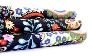 10 Yard Indian Natural Black Paisley Cotton Hand Screen Printed Fabric Bohemian