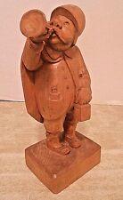 "Hand Carved Wooden Bobby Night Watchman Policeman + Horn Bottle Lantern - 13.5"""