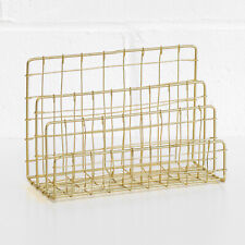 Metal Wire 3 Compartment Gold Letter Storage Tray Rack Holder Desk Orgainser