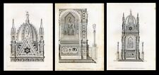 ARCHITECTURE..Orsanmichele Church, tabernacle (Florence)..3 engravings..1858
