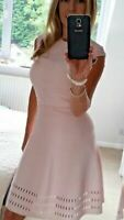 Ted Baker Pink Knit Fit Flare Full Skirt Skater Stretch Party Dress 4 UK 14 42