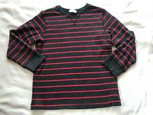 CRAZY 8 BOYS GRAY AND RED STRIPED TOP SIZE M(7-8)