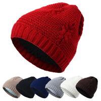 Fashion Men Women Warm Oversize Beanie Leaf Pattern Cap Winter Slouchy Knit Hat