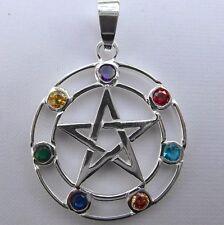 Sterling  Silver  (925)  Pentagram  +  Coloured  Stones  Pendant   !!    New !!