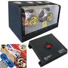 "Audiotek Dual 12"" 2000 Watt Power Band Pass w/ Subwoofer + 2000W Amp + 4 Ga Kit"