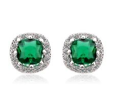 Rhodium Plated Cubic Zirconia 10mm Stud Earrings Silver Square Emerald Green P25