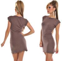 Minikleid Pullover Strick Kleid Pulli Longshirt Kurzarm Top Oberteil Feinstrick