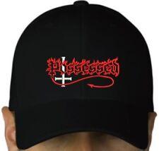 Possessed black cap hook and loop closure death thrash metal hat