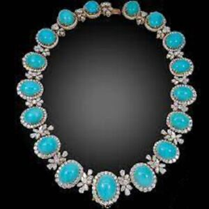 Solid 925 Sterling Silver Turquoise Necklace Round Halo Diamond Highend Jewelry