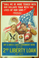 WW 1 POSTER: SHALL WE BE MORE TENDER...BOND DRIVE /LIBERTY LOAN 1917 Vintage
